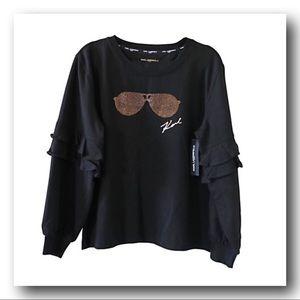 Lagerfeld Ruffle Sleeve 🕶 Motif